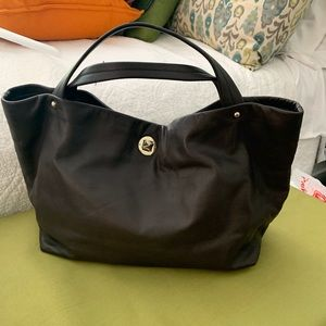 EUC chocolate brown Kate Spade leather hand tote